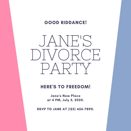 Pink and Blue Divorce Party Invitation
