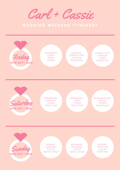 Pink White Illustrated Rings Cute Simple Wedding Itinerary Planner