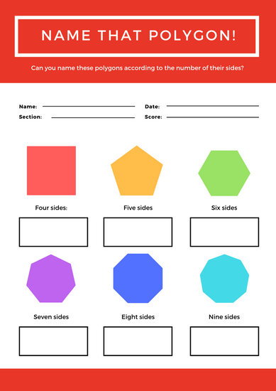Red Rainbow Polygons Shapes Math games Worksheet