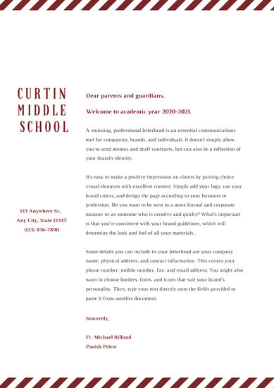 Beige and Maroon Welcome letter to students School Letters