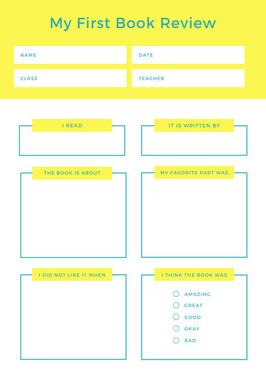 Yellow and Blue Preschool Book Review Worksheet