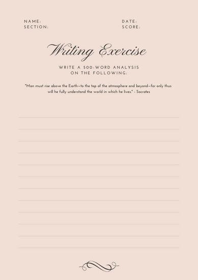 Pink Analysis Writing Prompt Worksheet