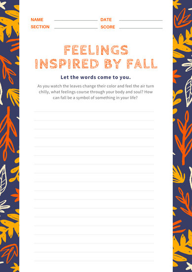 Indigo Foliage Fall/Autumn Writing Prompt Worksheet