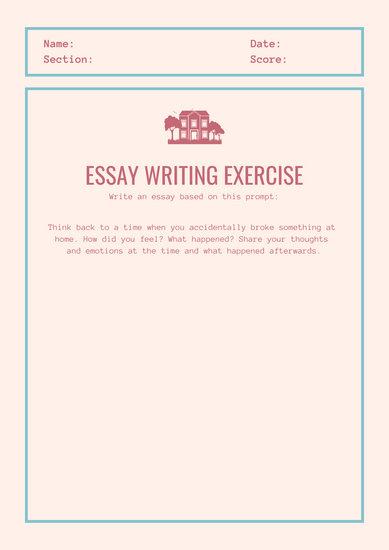 Red Blue Simple Essay Writing Prompt Worksheet