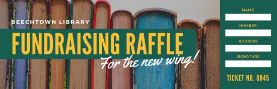 Green Yellow Books Library Fundraising Raffle Ticket