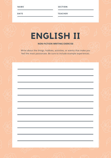 Peach Floral Pattern Nonfiction Writing Prompt Worksheet