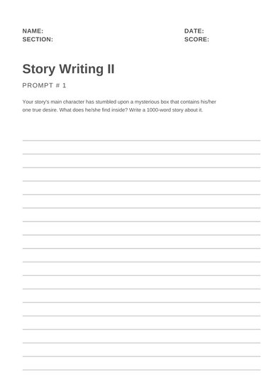 Gray Story Writing Prompt Worksheet