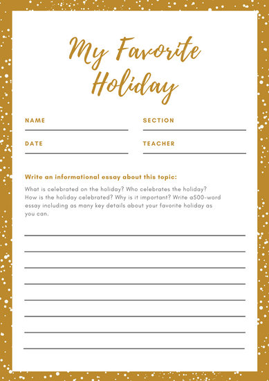 Gold Snow Informational Writing Prompt Worksheet