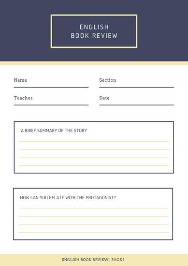 Blue Header Non-fiction Book Review Worksheet