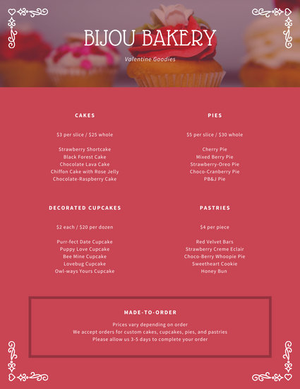 Red Heart Border Valentine's Day Food & Drink Menu