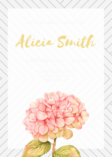 Coral Flower Illustration with Pattern Funeral Invitation