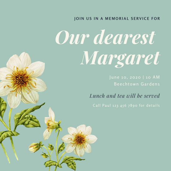 Mint Green Floral Memorial Invitation