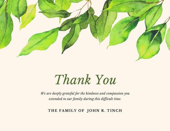 Mint Green Leaves Funeral Thank You Card