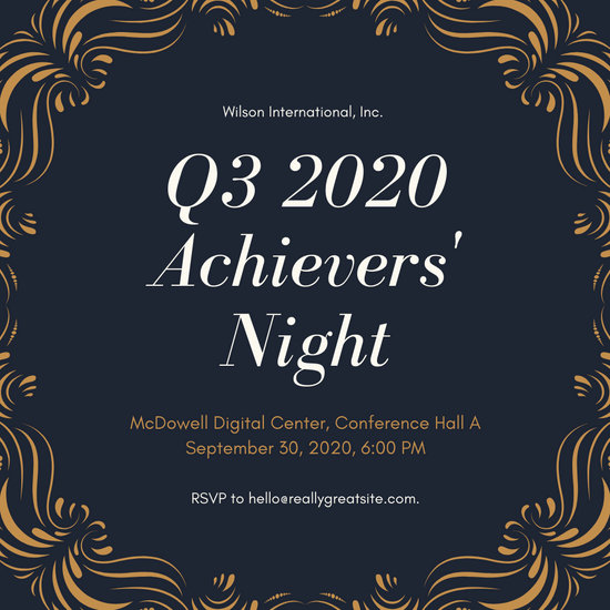 Gold and Midnight Blue Victorian Awards Night Invitation