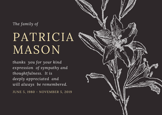 Dark Grey Cream Vintage Lily Illustration Funeral Thank You Card
