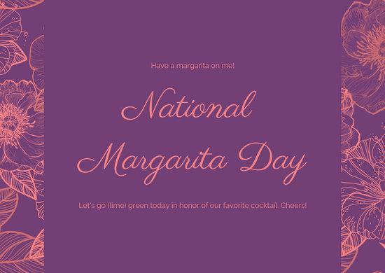 Purple Floral Greeting National Margarita Day Card