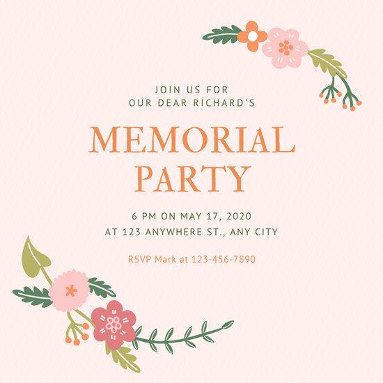 Pale Pink Memorial Invitation