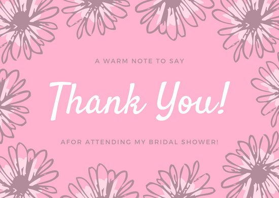 Pink Floral Bordered Bridal Shower Thank You Card
