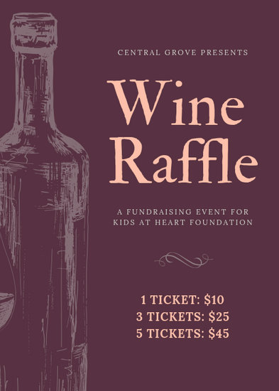 Handdrawn Wine Bottle Fundraiser Raffle Flyer