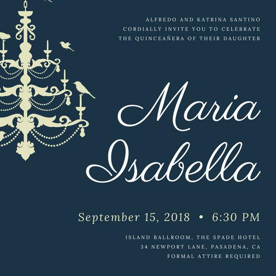 Chandelier Quinceañera Invitation