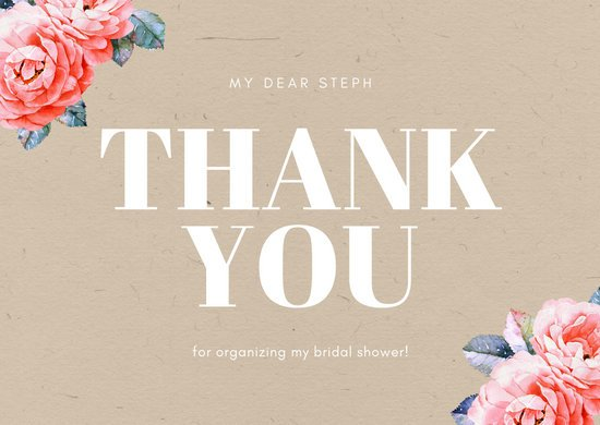 Brown Floral Bridal Shower Thank You Card