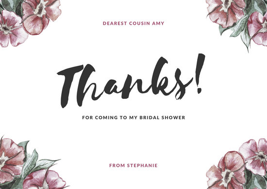 Pink Floral Bridal Shower Thank You Card