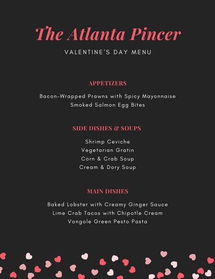 Pink Hearts Valentine's Day Food and Drink Menu