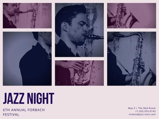 Cream and Purple Collage Photo Jazz Poster