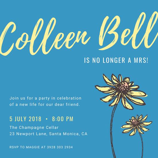 Yellow Flower Illustration Divorce Party Invitation