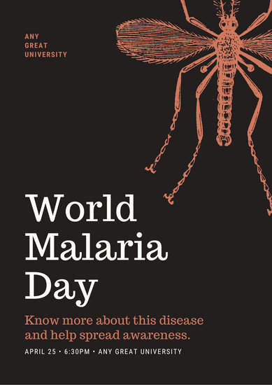 Brown with Mosquito Insect World Malaria Day Poster