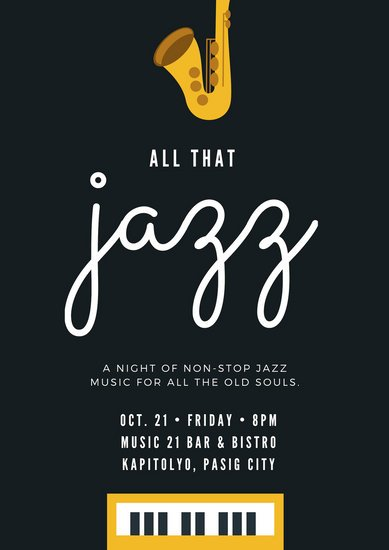 Black and Yellow Jazz Music Instrument Poster