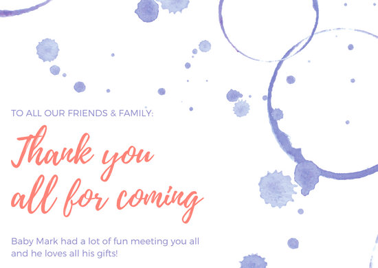 Lavender and Peach Watercolor Splatters Thank You Baby Card