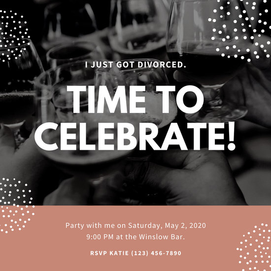 Coral Wine Photo Divorce Party Invitation