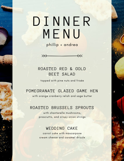 Photo Overlay Dinner Party Menu