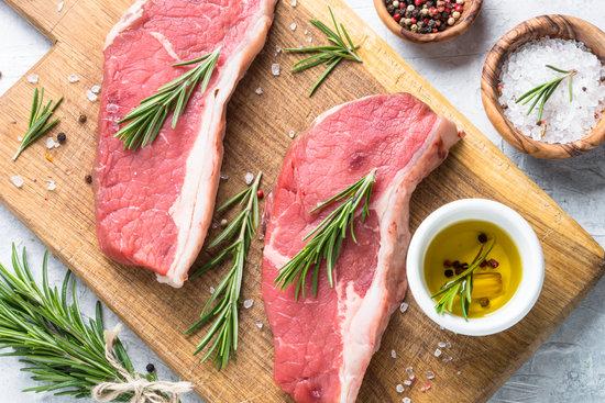 Raw Beef Striploin Steak.