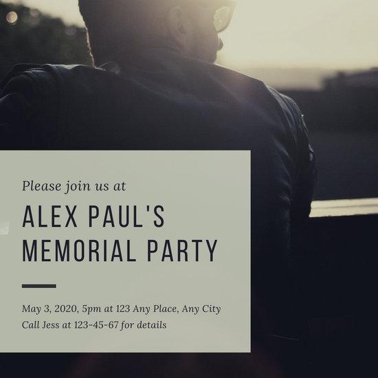Blue Sunset Modern Man Memorial Invitation