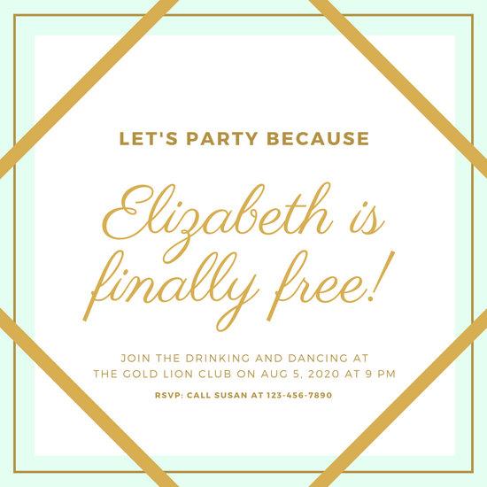 Gold & Mint Green Elegant Divorce Party Invitation