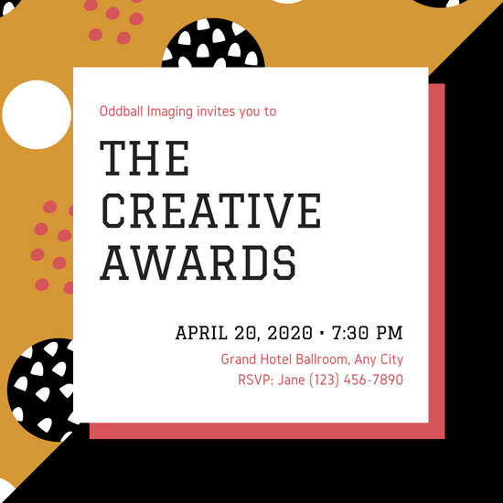 Orange and Black Creative Abstract Patterned Awards Invitation