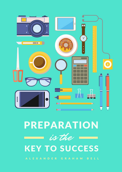 Green and Yellow Icons Preparation Motivational Poster