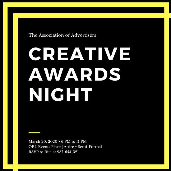 Yellow and Black Minimal Edgy Awards Night Invitation