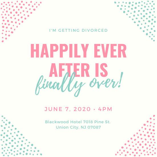 Pink Blue Sketchy Paint Divorce Party Invitation