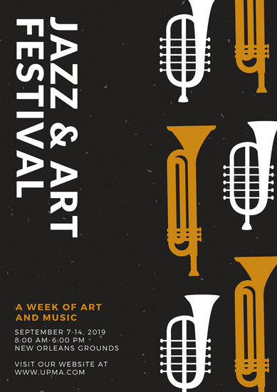 Black with Gold and Cream Trumpet Icons Jazz Poster