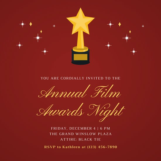 Red and Yellow Trophy Awards Night Invitation
