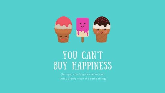Teal Ice Cream Cute Happiness Desktop Wallpaper