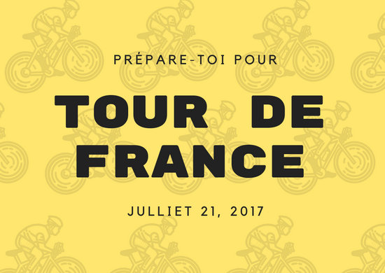 Yellow and Black Tour De France French Postcard
