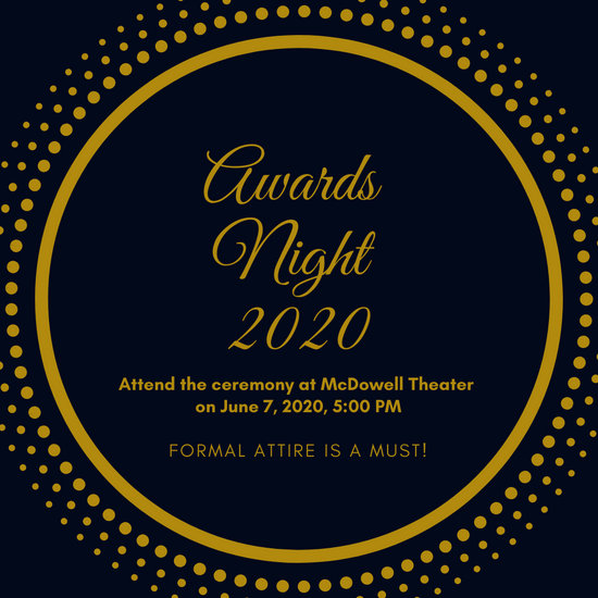 Blue and Gold Circle Patterned Awards Night Invitation