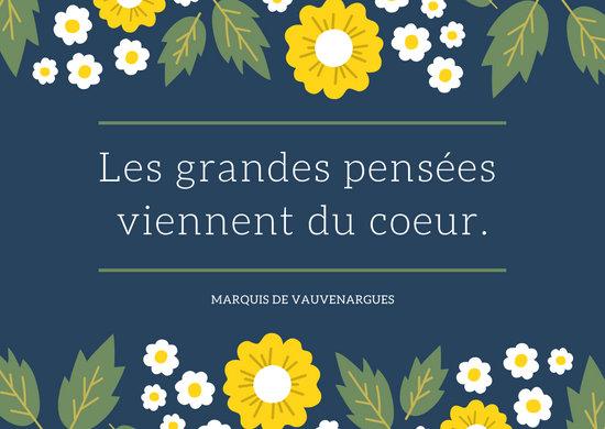 Dark Blue Floral French Postcard