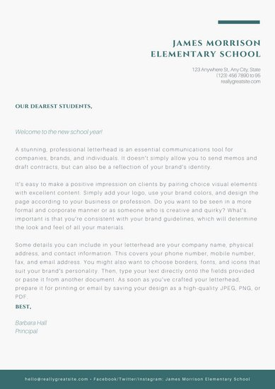 Green and White Welcome Letter to Students School Letters