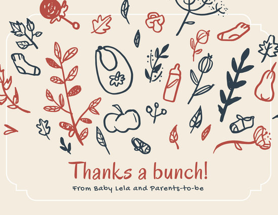 Beige Fall Baby Shower Thank you Card