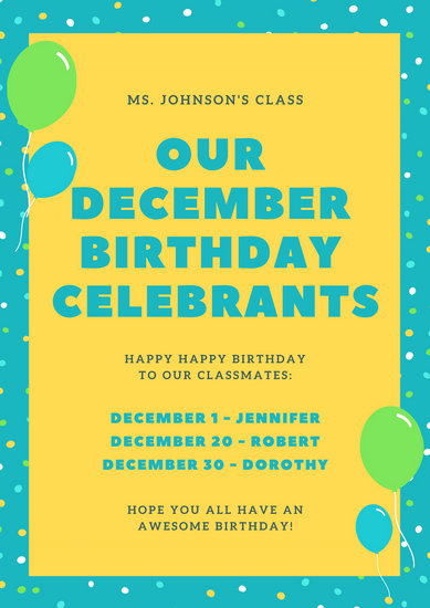 Blue and Yellow Birthday Classroom Poster